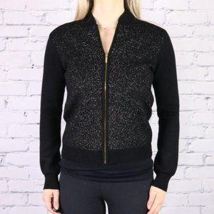 Calvin Klein black gold metallic bomber sweater c2